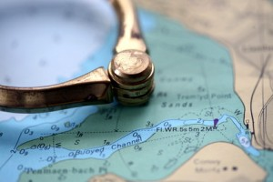 nautical chart with dividers